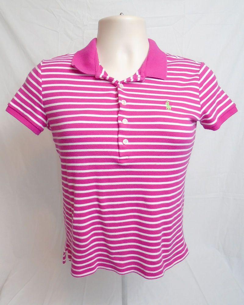 Ralph Lauren Sport Pink White Striped Short Sleeve Polo Shirt Large Slim Fit