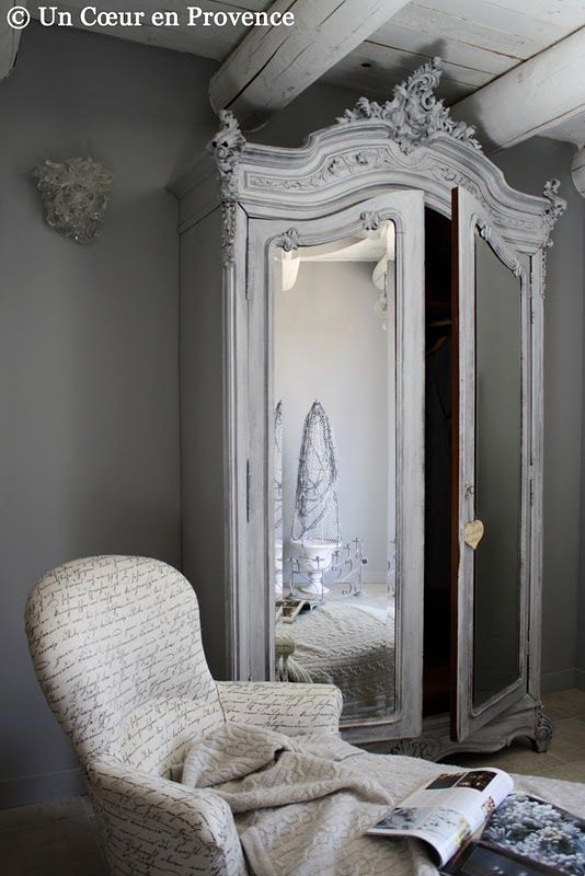 Grey armoire | chambre style campagne | Pinterest | Meubles, Meubles ...