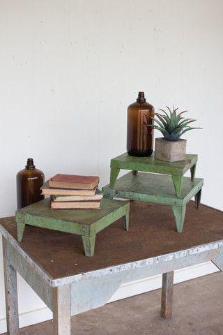 Kalalou Set Of 3 Antique Green Metal Display Risers