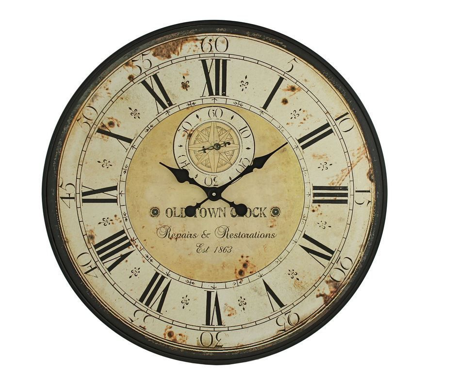 Vintage Wall Clock Antique Large 32 Round Kitchen Distressed Aged