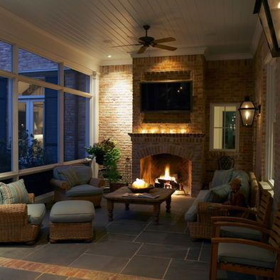 Screen Porch With Fireplace And Tv What More Could You Want Ranch Style Home Porch Fireplace Seasonal Room