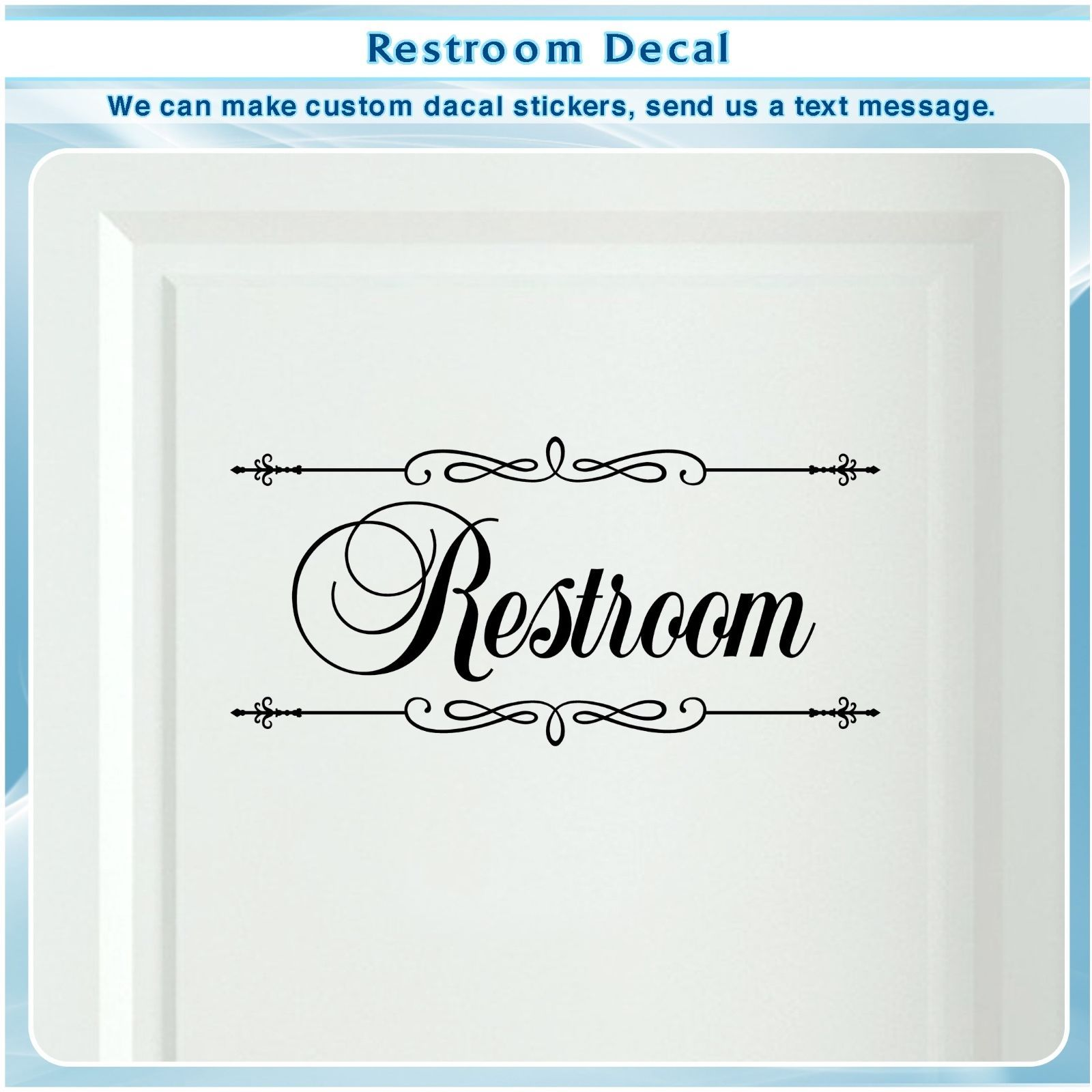Bathroom restroom toilet door sign art vinyl home decor wall sticker