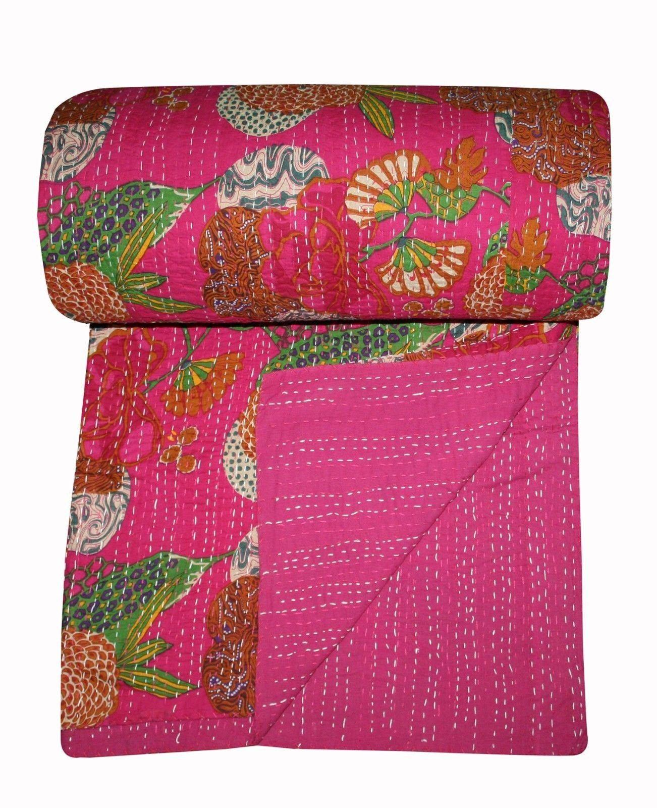 Fair Trade Kantha Throw Queen Size Reversible Kantha Blanket Handmade Kantha Bedding For Dorm Room Applique Baby Kantha Coverlet Quilt Kantha Quilt Queen Quilt