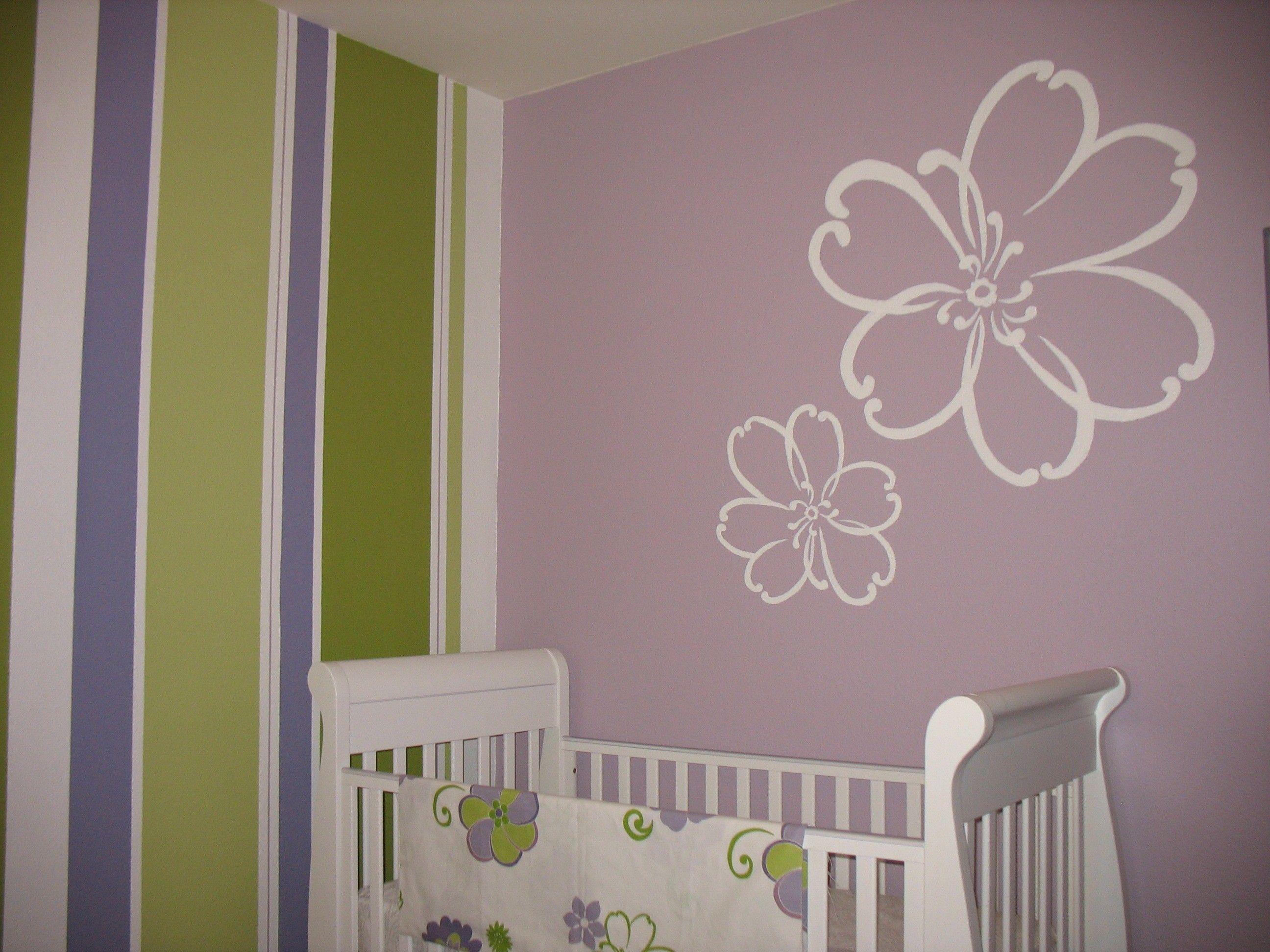 Beautiful Purple Wood Simple Design Baby Girl Nursery Painting
