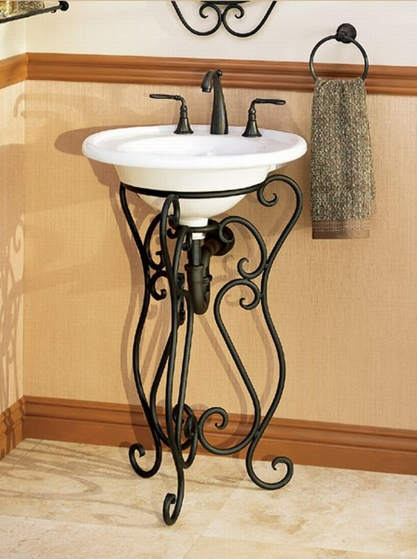 WroughtIronBathroomVanity Bathrooms Pinterest Wrought Iron - Wrought iron bathroom vanity stand