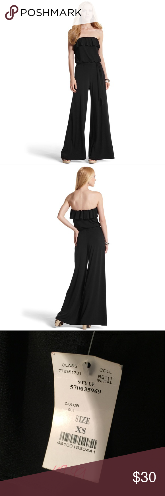 Jumpsuit by White House Black Market Strapless Ruffled Jumpsuit with Fluttery Neckline and Wide Flowing Legs. It comes with a removable fabric sash. It was used only for a photo shoot. White House Black Market Pants Jumpsuits & Rompers