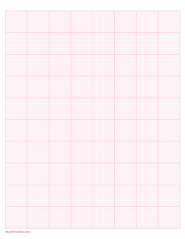 Printable 13 Squares Per Inch Pink Graph Paper For Letter Paper Free Download At Https Museprintables Com Download Letter Paper Graph Paper Printable Paper