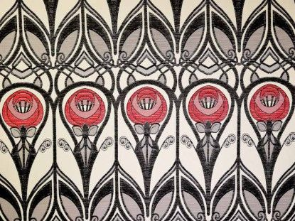 Red grey Rennie Mackintosh fabric