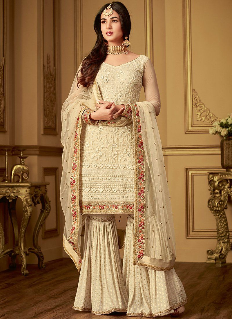 Off White Thread Embroidered Gharara Suit | Fashion
