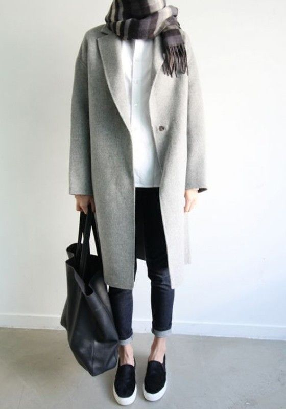 e48a350efc5d Light Grey Plain Buttons Long Sleeve Fashion Polyester Wool Coat ...