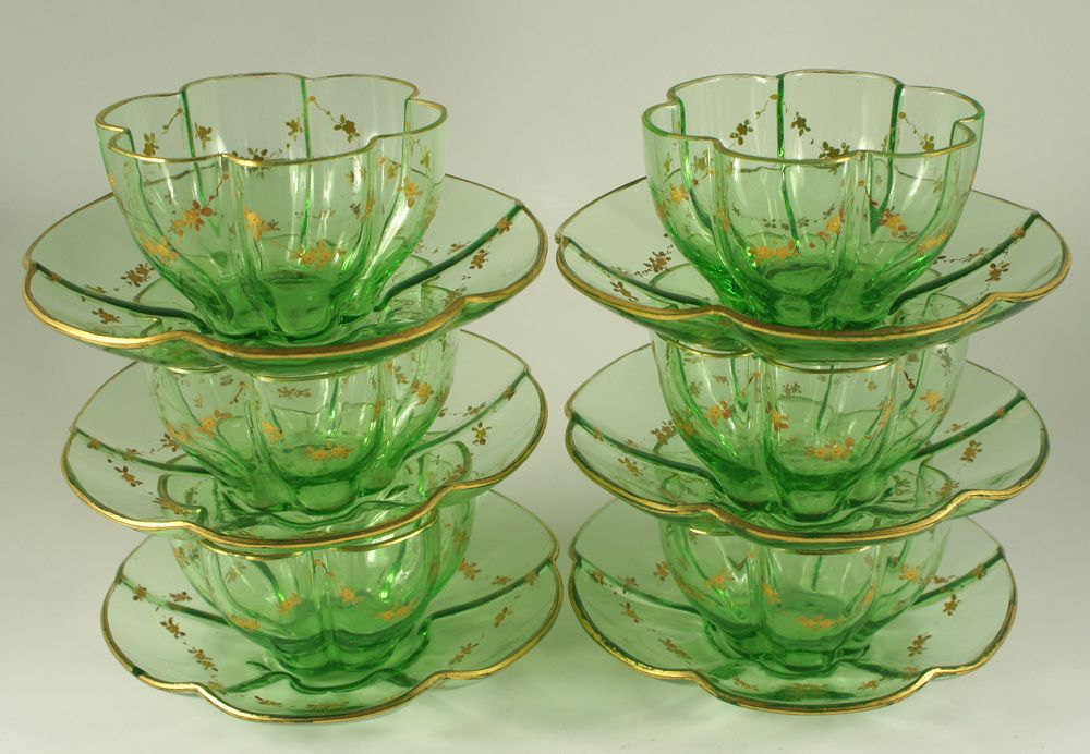 Elegant Moser Bohemian Set: Pumpkin form Fluted Green Crystal Bowl & Saucer (6/6) with Raised Gold Enamel Decoration