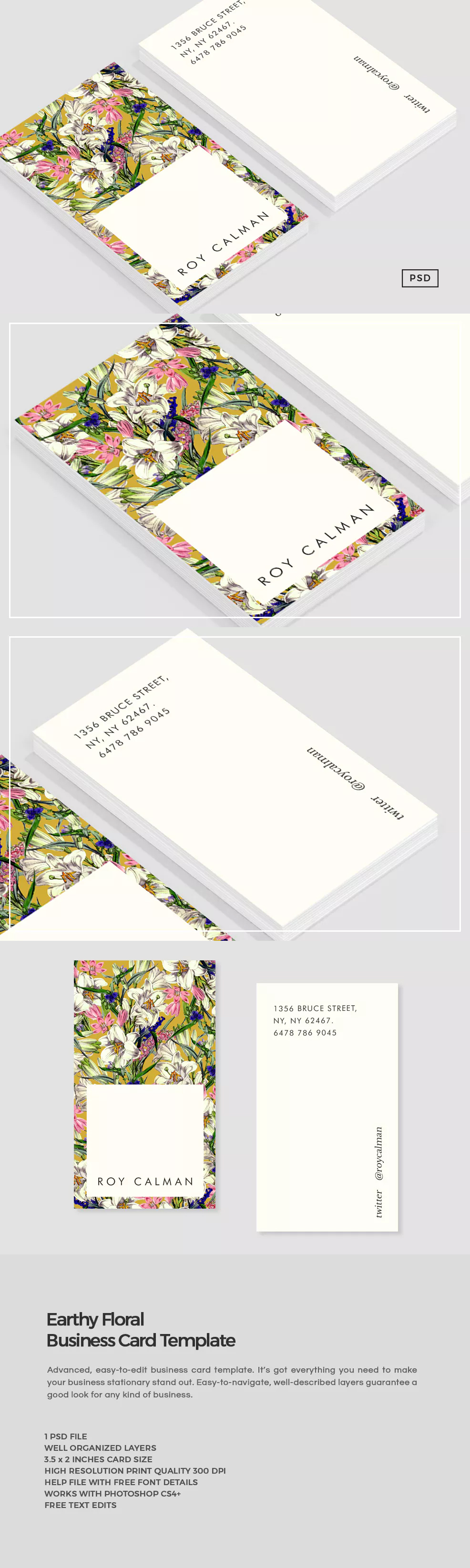 Earthy Floral Business Card Template PSD | Olive jewelry redesign ...