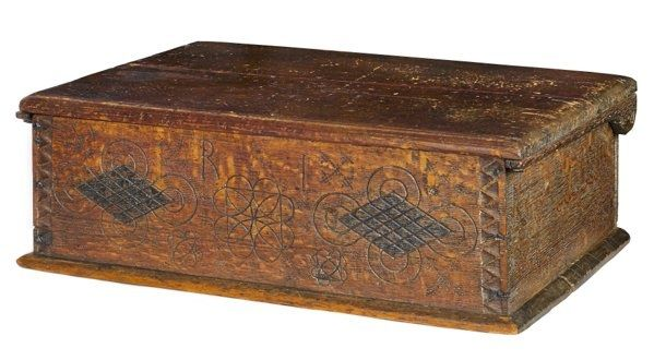 Wonderful Scratch Carved And Initialed American Bible Box