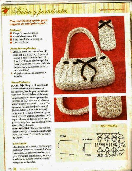 Patrones Crochet: Bolso y Funda de Gafas de Crochet | Crochet - bags ...
