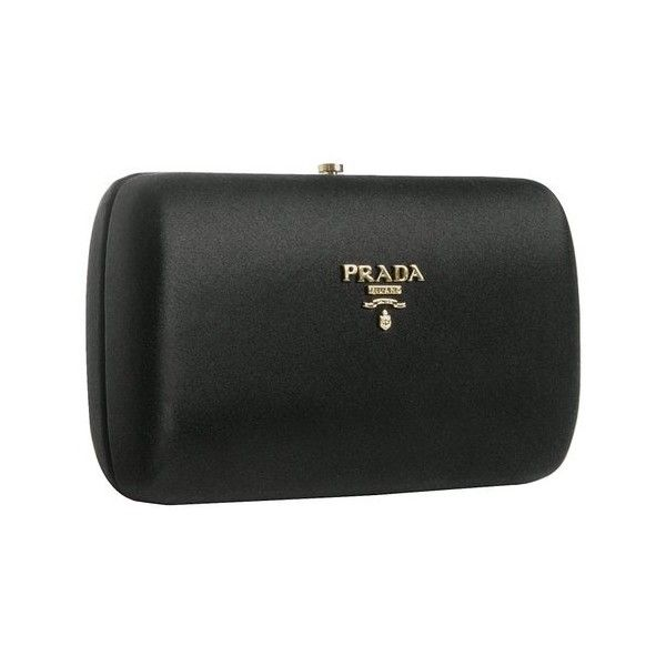 fa5660dab4e5 Prada Black Satin Box Clutch ❤ liked on Polyvore featuring bags ...