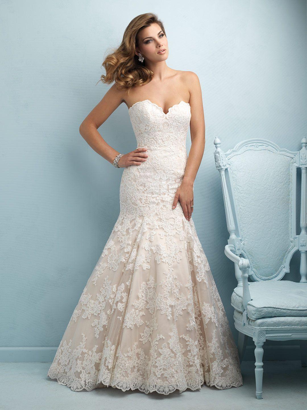 Allure Bridals 9215 Strapless Lace Mermaid Wedding Dress | white ...