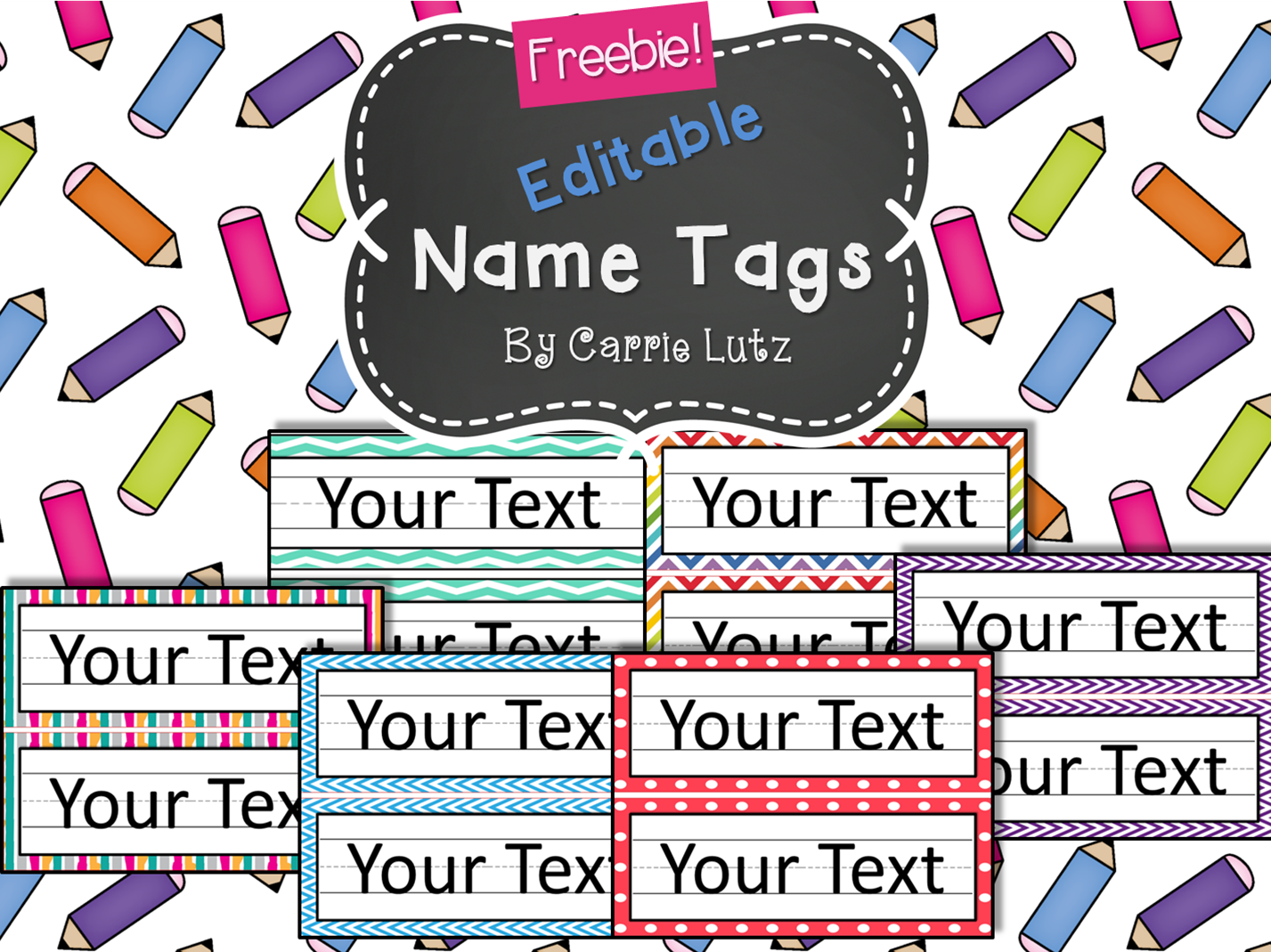 Free Editable Chevron Dots Or Rainbow Simple Name