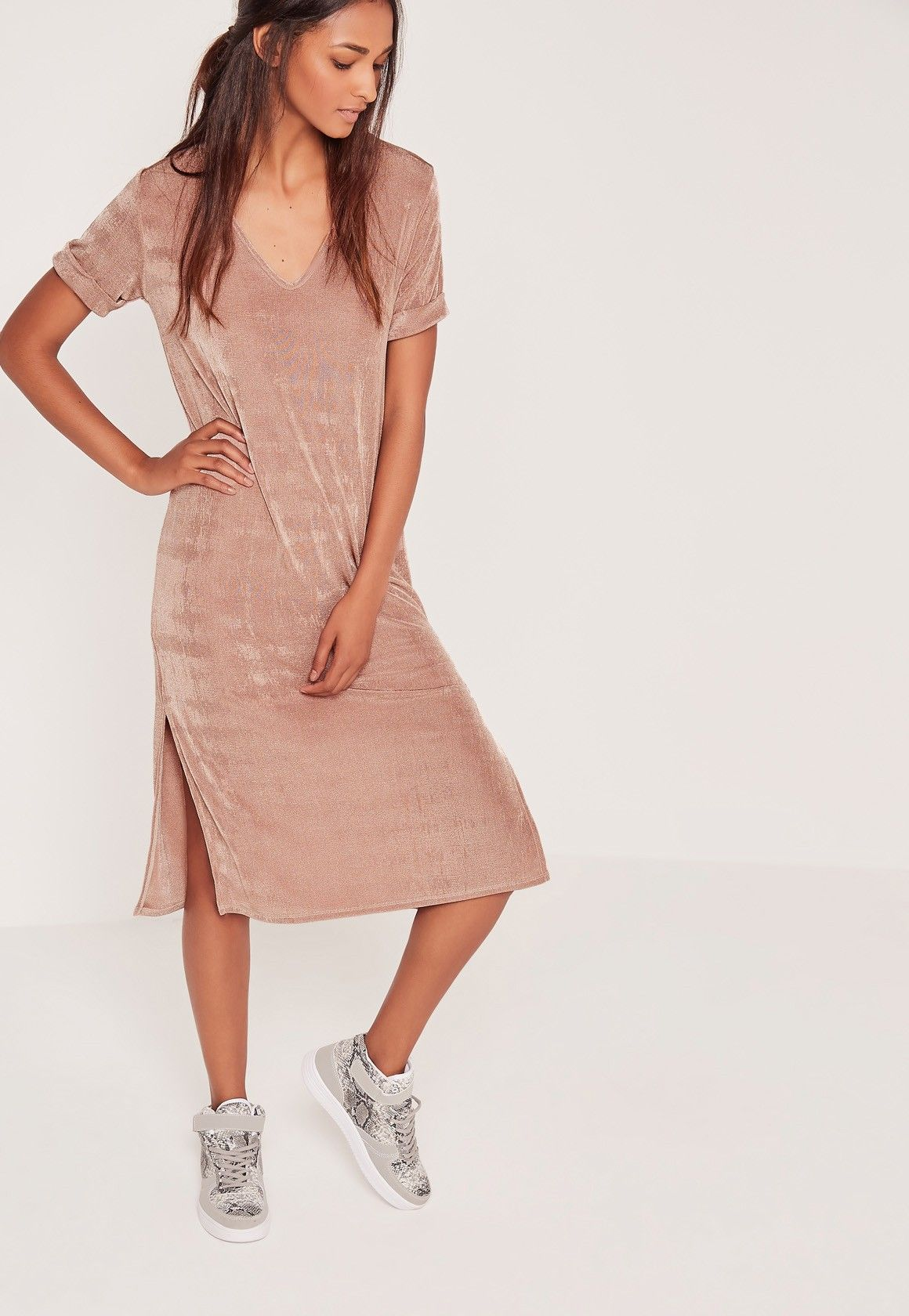 Missguided slinky oversized midi dress rose gold get in my