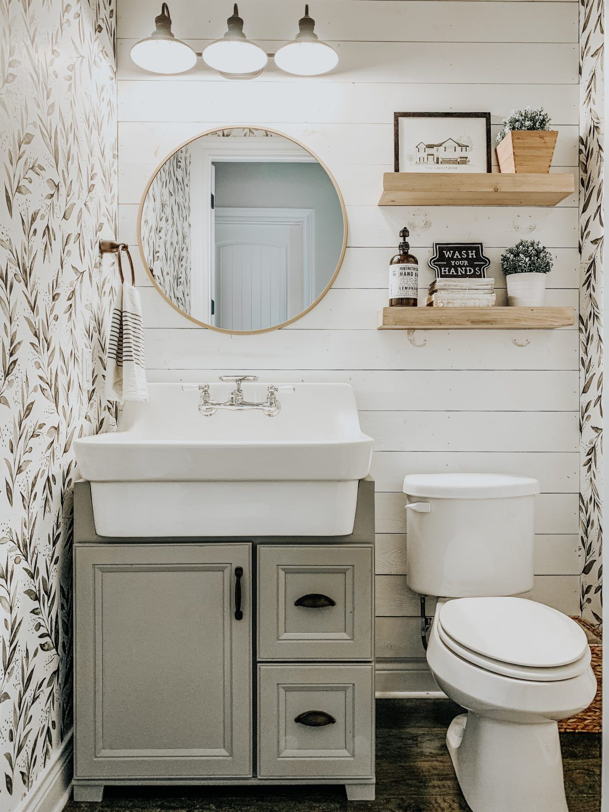 On The Blog We Re Sharing How We Added Wallpaper To Textured Walls In Our Powder Bathro Small Farmhouse Bathroom Modern Farmhouse Bathroom Small Bathroom Decor