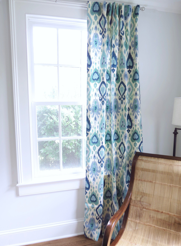 Blue Green Curtains Ikat Curtains Blue Ikat Fabric Curtain Panels