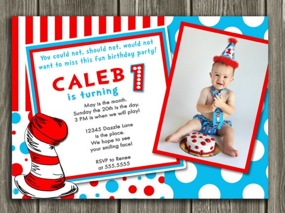 printable dr. seuss inspired birthday photo invitation | cat in, Birthday invitations