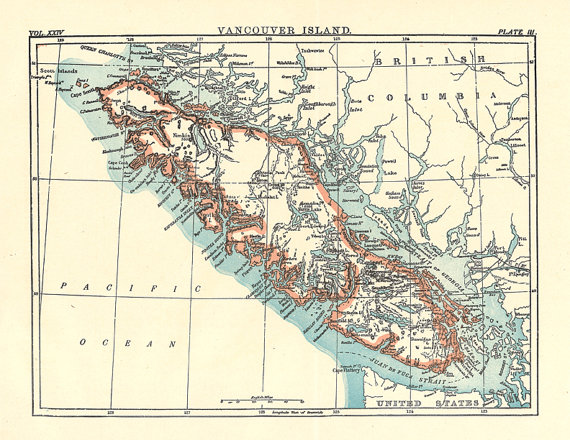 Map Of Vancouver Island From A 1904 Encyclopedia
