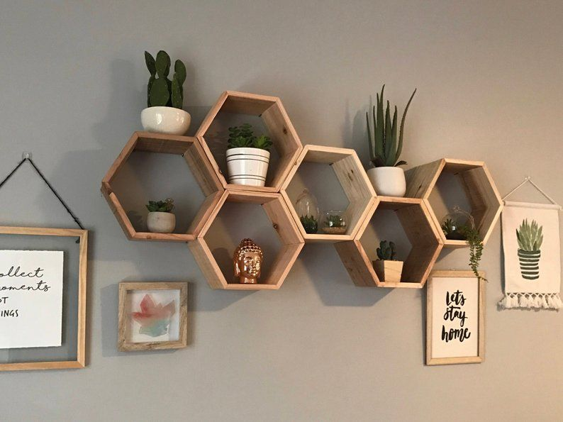 Set Of 6 Medium 5 5 Deep Hexagon Shelves Honeycomb Etsy