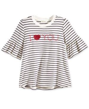 Monteau Striped I Love You Graphic T-Shirt, Big Girls (7-16) - Ivory/Cream L