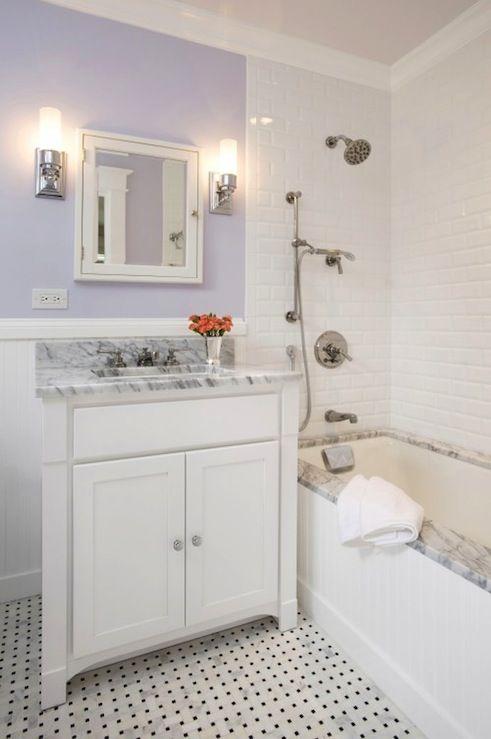 Bon Pretty Lilac Purple Bathroom Design With Lilac Purple Walls Paint Color,  White Mirror Medicine Cabinet, Pottery Barn Sussex Tube Sconce, ...