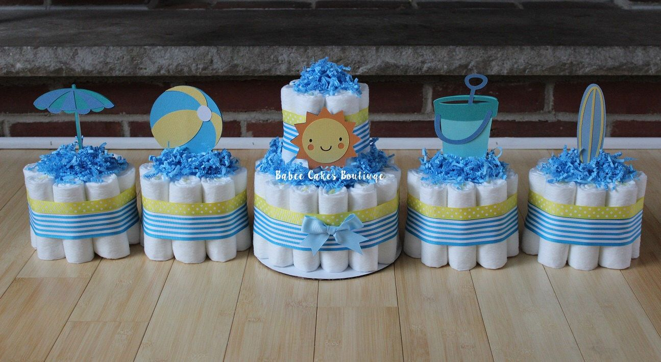 SET OF 5 -  Beach Theme Diaper Cakes, Sunshine Pail Beach Ball Surf Board Umbrella, Beach Baby Shower, Boy, Gender Neutral, Centerpieces by BabeeCakesBoutique on Etsy https://www.etsy.com/listing/263661942/set-of-5-beach-theme-diaper-cakes