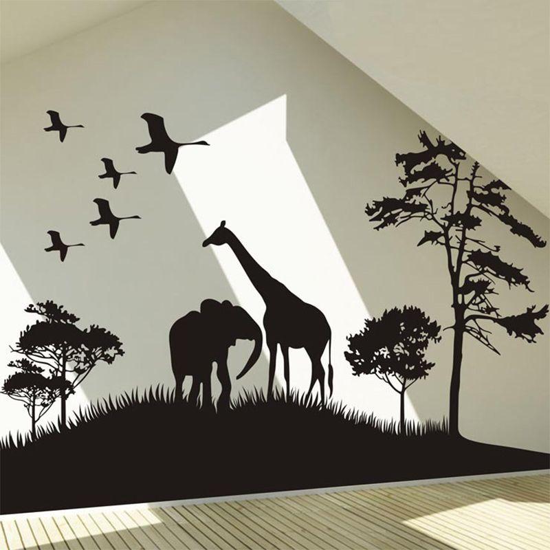Autocollant Mural Grande Taille Safari Animaux Afrique Sticker Mural De Grande Taille Pour Déc Stickers Muraux Animaux Stickers Muraux Chambre Animaux Safari