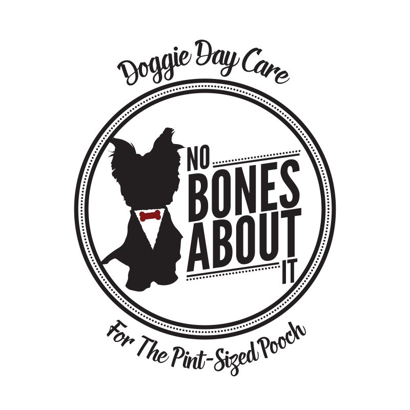 A logo for No Bones About It Doggy Day Care. The Client wanted to use their own dog in the logo, so I came up with this silhouette vibe, and they loved it!