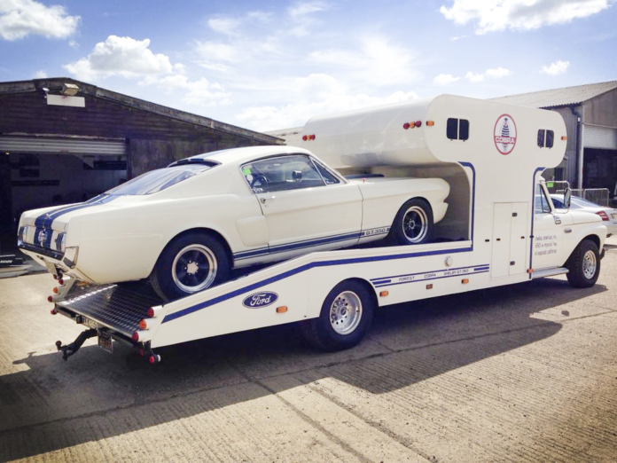 A Classic American Race Car Hauler For Sale In The Uk Ford Mustang Fastback Ford Classic Cars Ford Racing