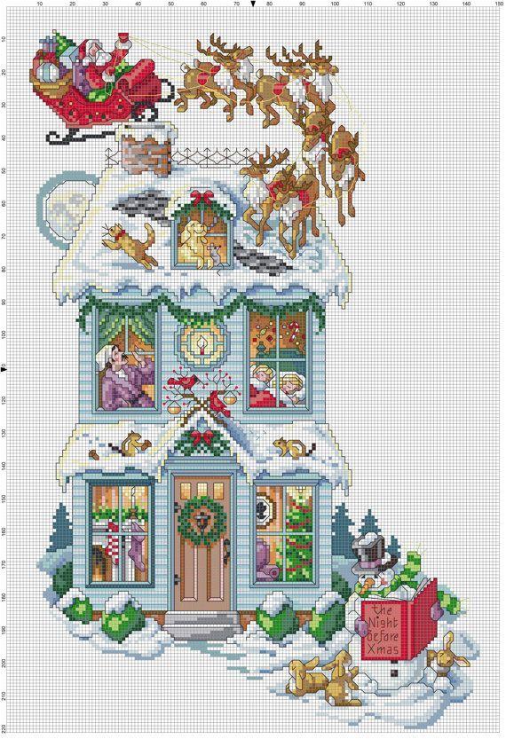 Bota de Navidad en punto de cruz | Cross stitching | Pinterest ...
