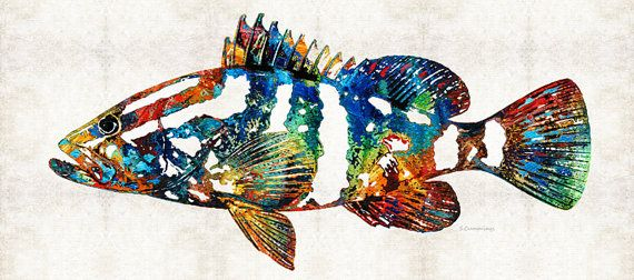 Grouper Fish Art Print From Painting Colorful Deep Sea Fishing