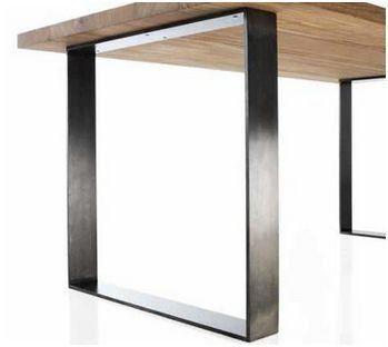 Mesa de comedor OAK 160 cm - ROBLE MACIZO - Patas Acero   Home ...
