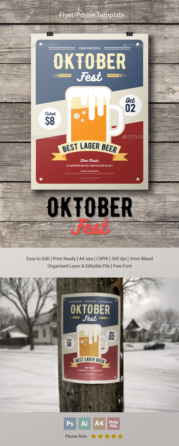 Oktoberfest Flyer Template Psd Ai Illustrator Flyer Templates