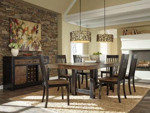 BALDOVINO-7pcs Cottage Brown Rectangular Dining Room Table Chairs