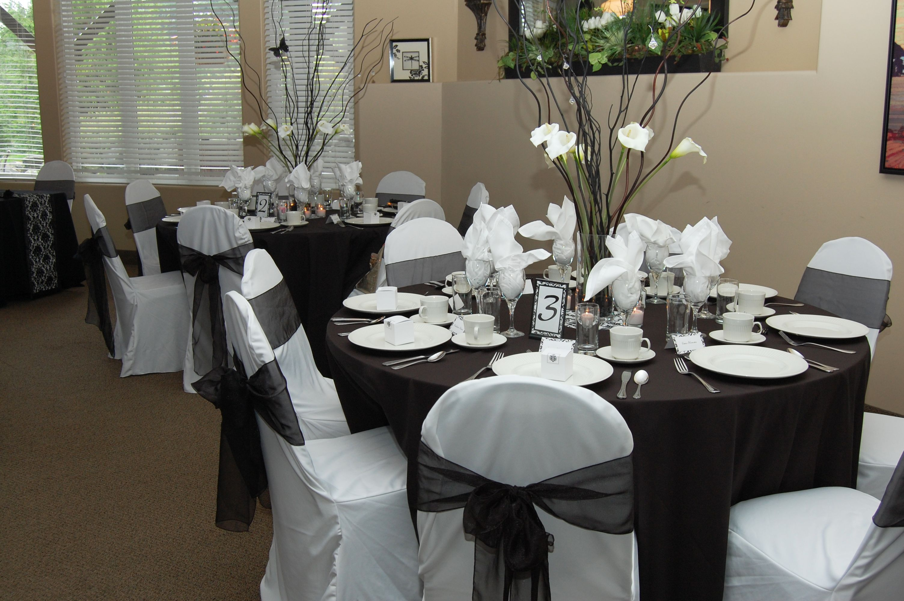 Chair Covers Make Such A Difference At This Wedding We Used Plain White Covers With An Elegant Black S White Wedding Decorations Black And White Theme Wedding