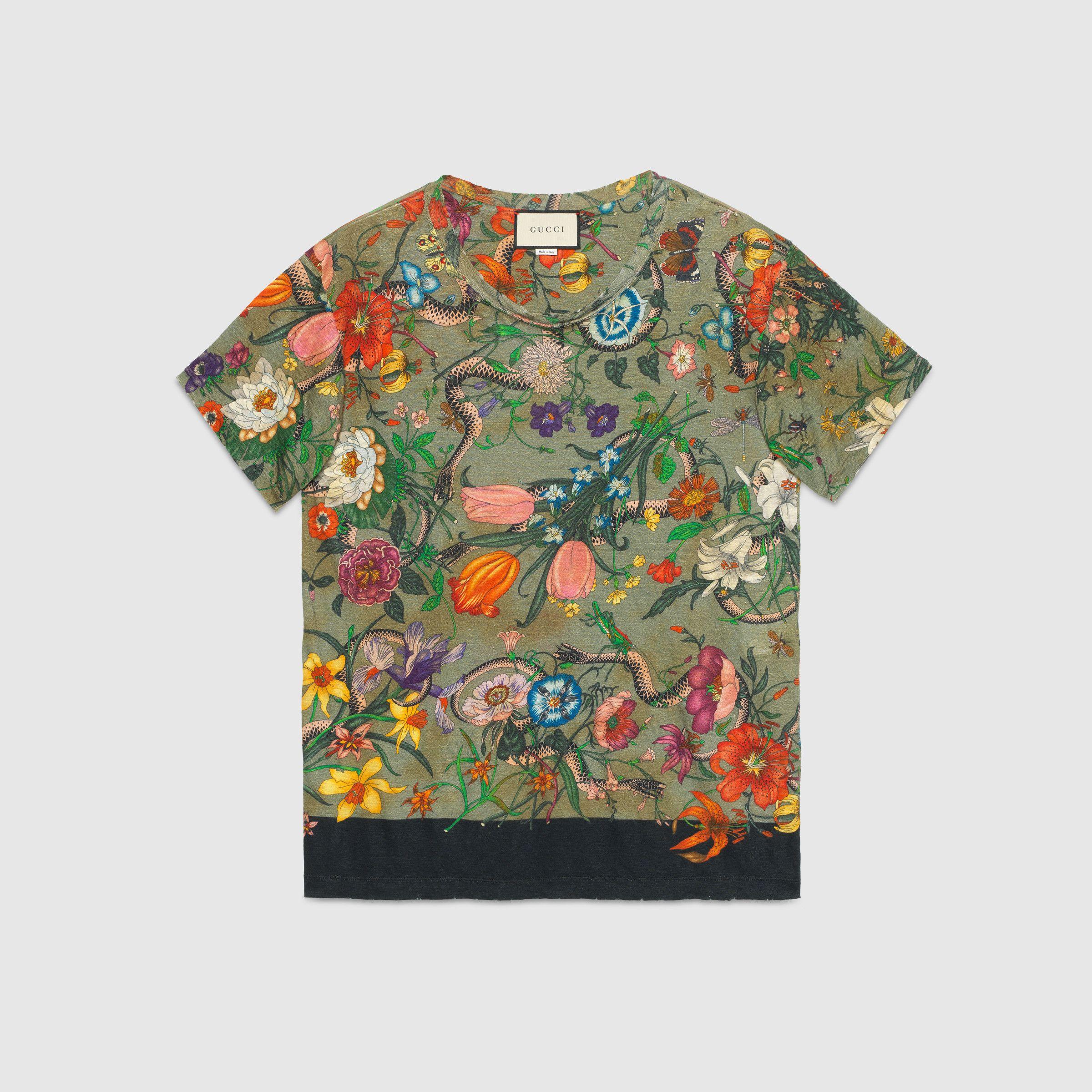 花卉蛇形印花亚麻t恤 绿色花卉蛇形亚麻 Gucci中国官网 Mens