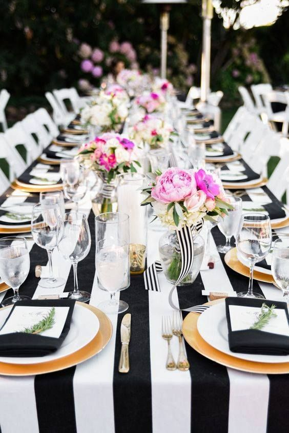 Black white gold and pink wedding table setting | Dream ...