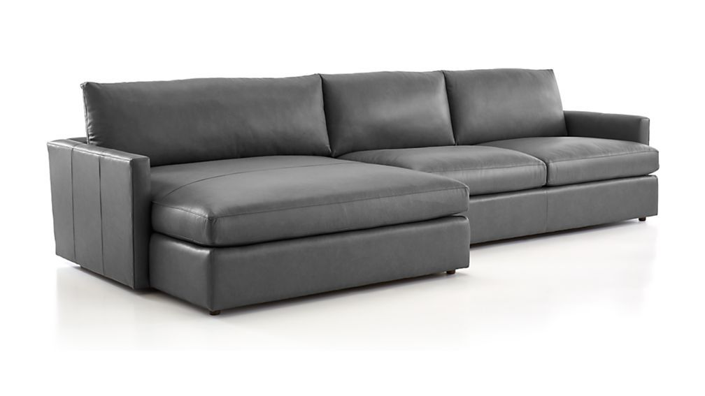 Lounge Leather 2 Piece Right Arm Double Chaise Sectional Sofa Crate And Barrel In 2021 Double Chaise Sectional Sectional Sofa Leather Sectional Sofas Leather sofas with chaise lounge