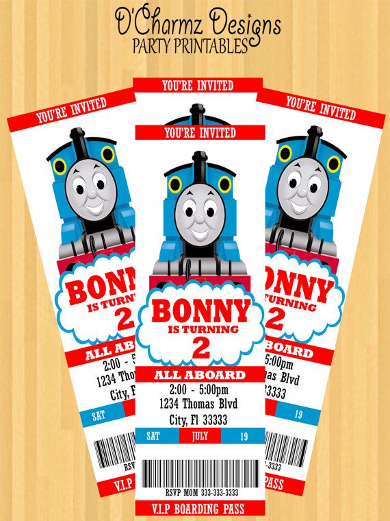 Thomas The Train Party Invitation Ticket Style by DCharmzDesigns