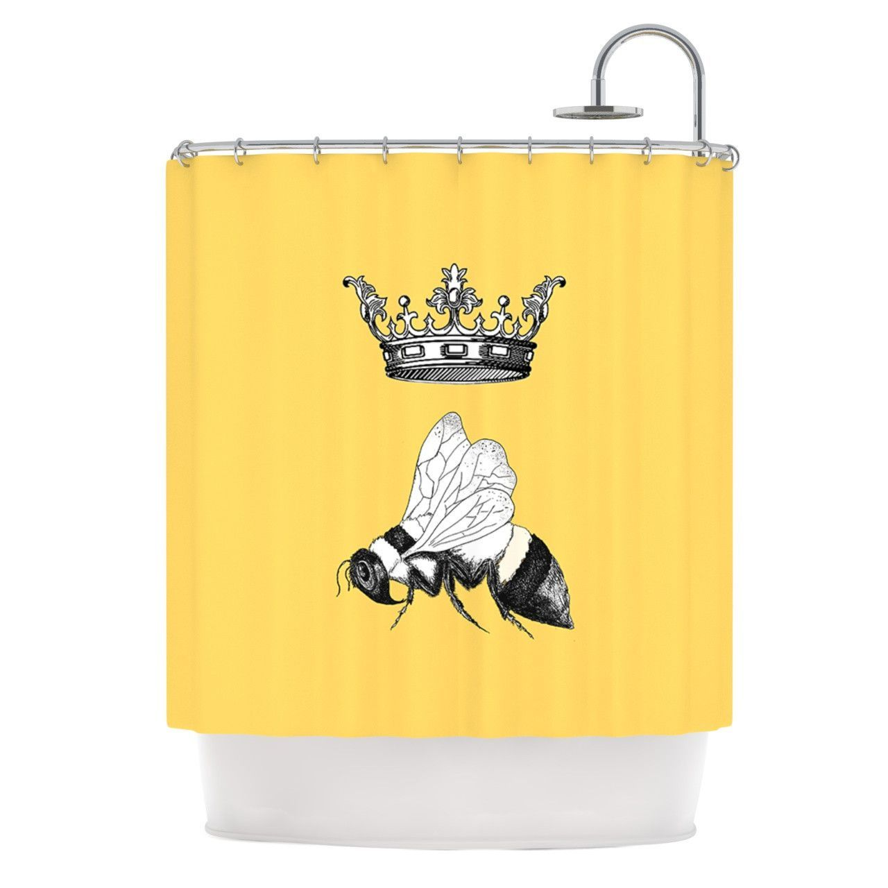 Catherine Holcombe Queen Bee Canary Yellow Shower Curtain