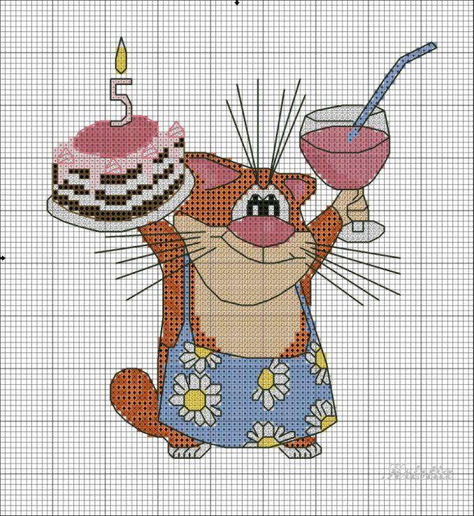 Вышивка крестом для открытки на день рождения, удачного