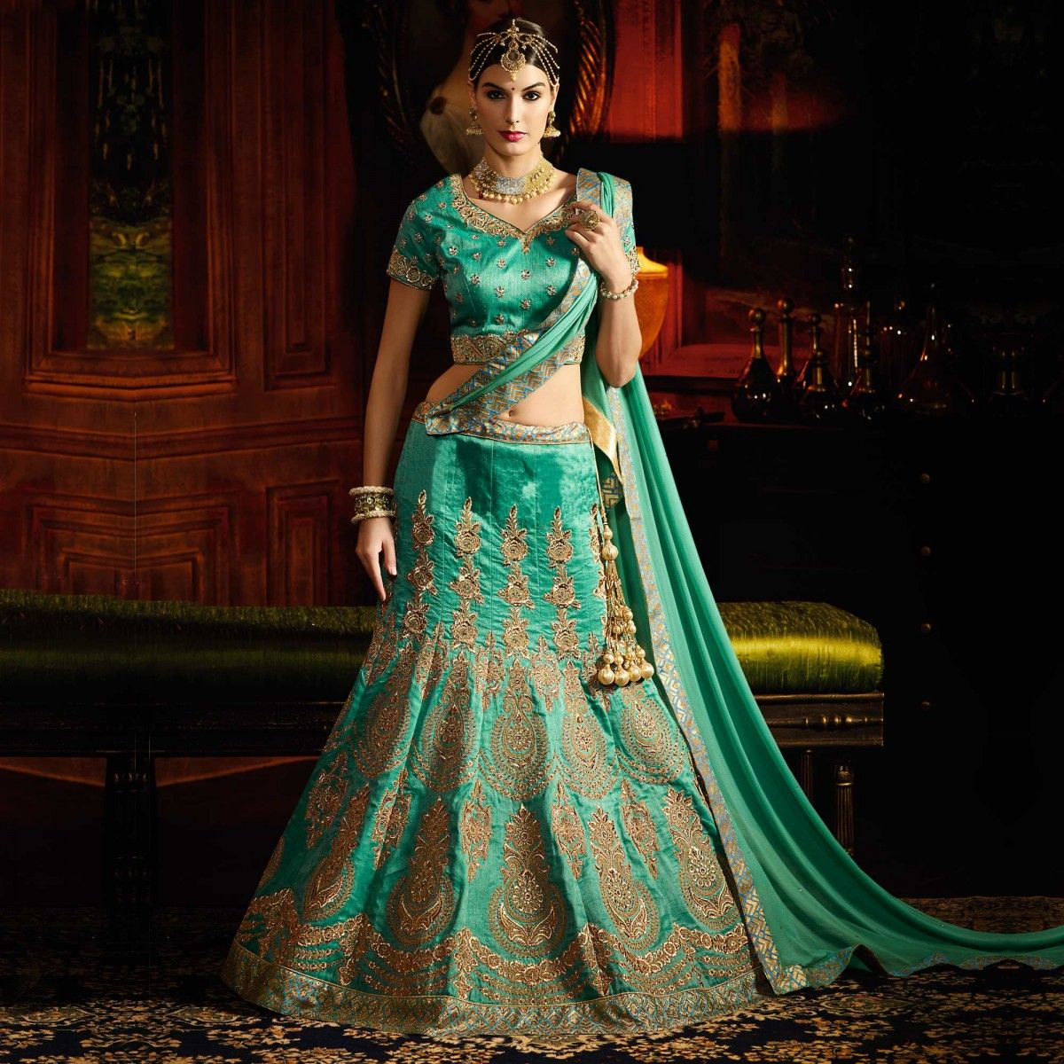 Buy Green Designer Silk Wedding Wear Lehenga for womens online ...