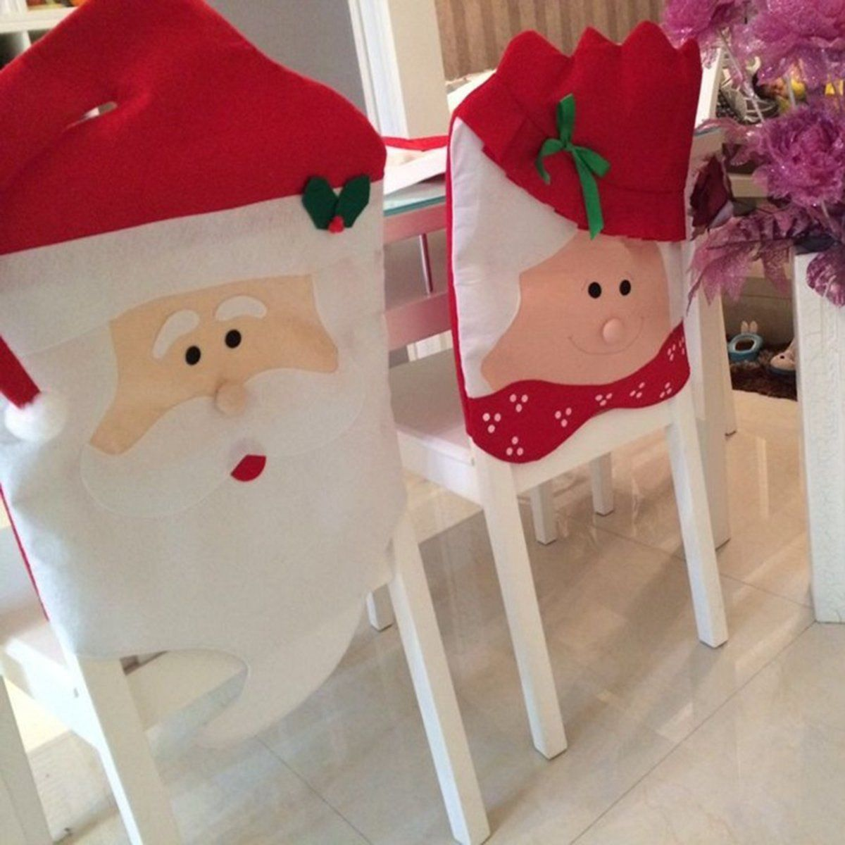 Christmas Chair Back Cover Mr /& Mrs Santa Claus Seat Slipcover Dining Room Decor