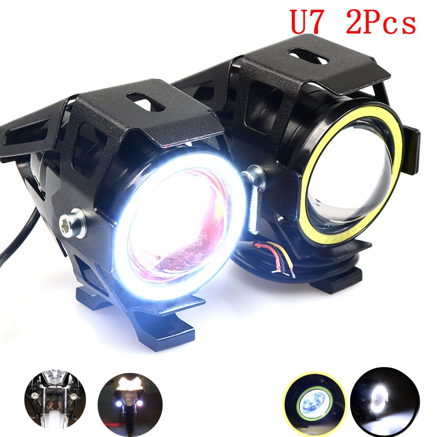 For 2pcs U7 Led Motorcycle Headlight Transform Spotlight