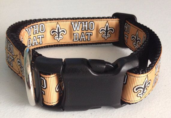 Who Dat Adjustable Pet Collar on Etsy, $8.00