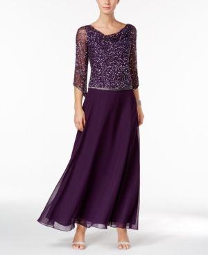 J Kara Beaded Tea-Length Dress - Purple 14   Dresses, Plus ...